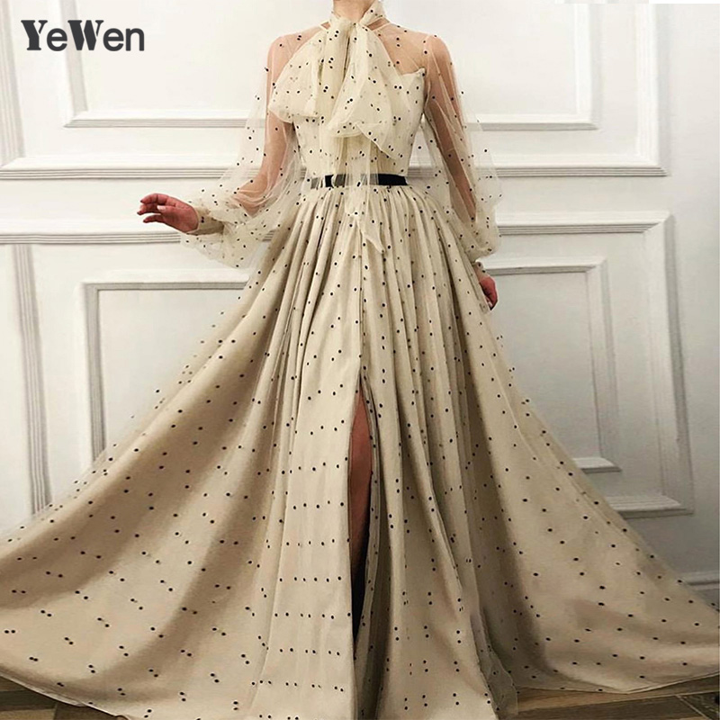 Khaki   Evening     Dresses   Tulle Long sleeve Elegant Sexy V-neck A-line Elegant Formal Long Party Gowns for Wedding Guest Plus size