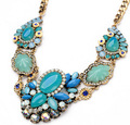 2015 New Women Statement Necklace Link Chain Necklace Trendy Choker Necklace Flower Resin Pendant Jewelry Trends For Gift