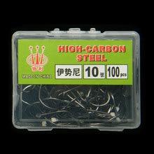 100Pcs 1 Box 1 Sizes High carbon Steel Barbs Fishhooks Carp Fishing Set Pesca Fishing Tackle carp fishing hooks with 1# – 12#