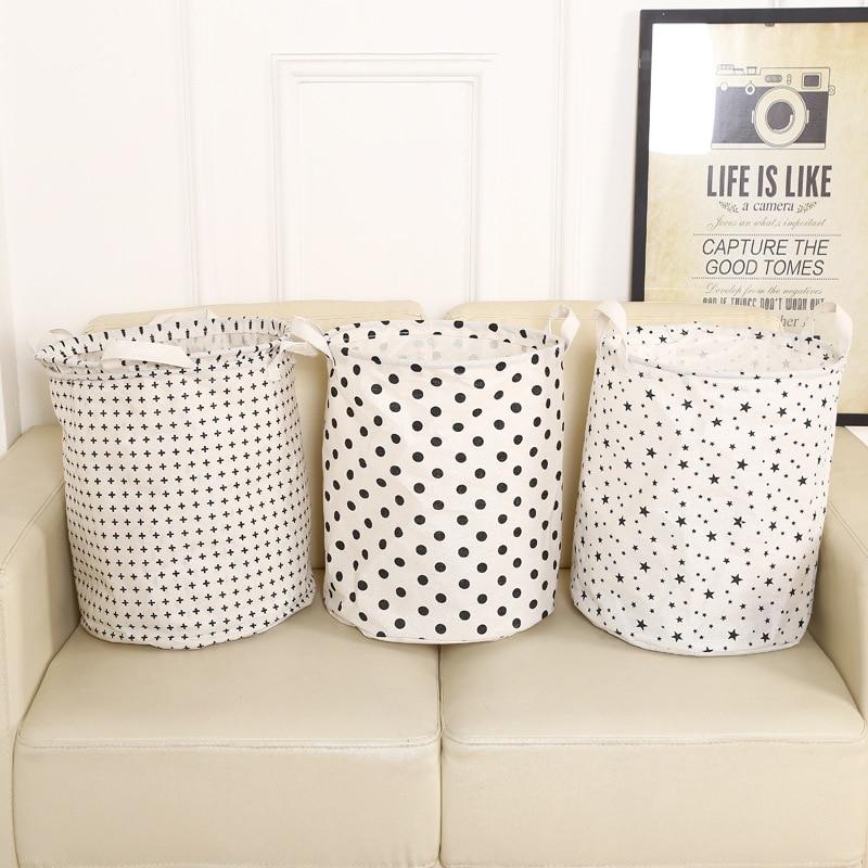 Fashion Cotton Dot Pentagram Home Holel Hospitals Foldable Waterproof Clothes Neatening Storage Laundry Basket Barrel CV
