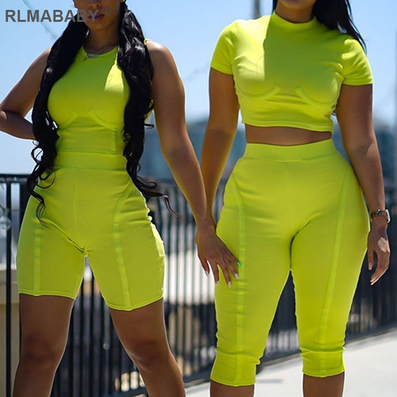 RLMABABY Casual Ribbed 2 Piece Set Women Top And Shorts Slim Sportwear Two Outfits High Waist Summer Femme