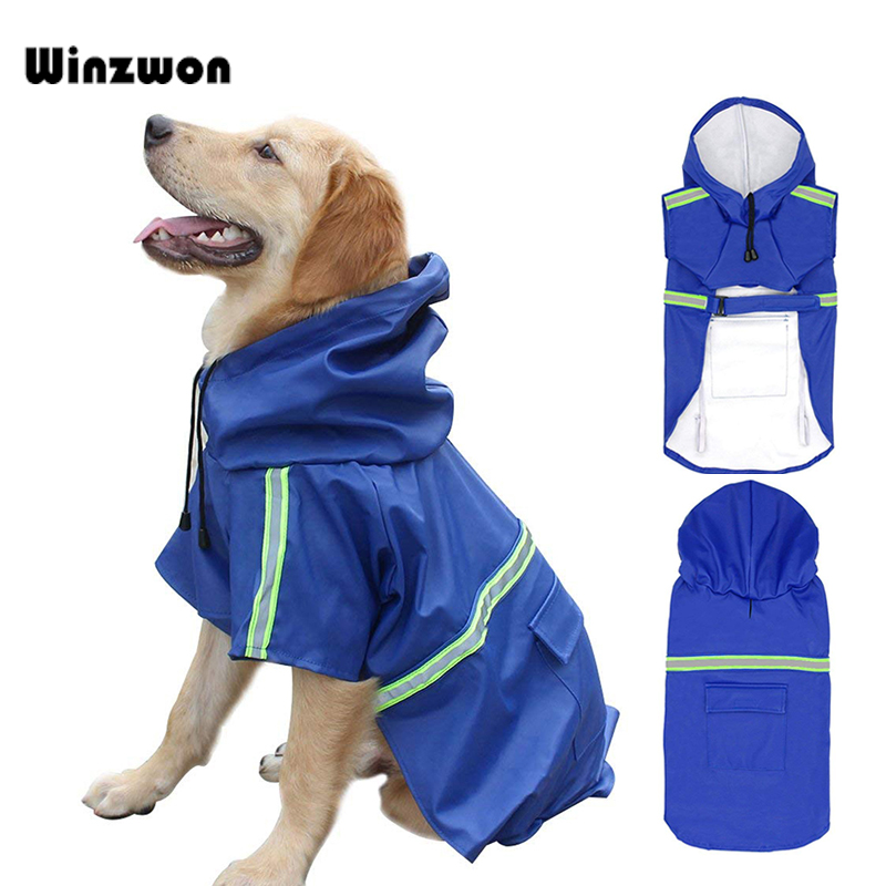 Pet Dogs Waterproof Jacket Pet Puppy PU Reflective Raincoat Rainwear Clothes New