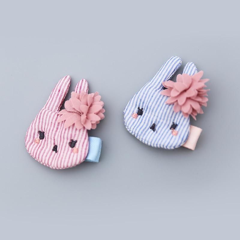 1 PCS New Cartoon Handmade Small Rabbit Head Girls Hair Clips Kids Hairpins Children Hair Accessories Princess   Headwear