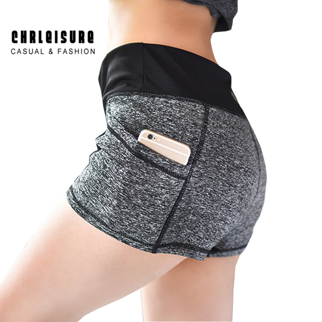 CHRLEISURE S-XL Woman's Short Patchwork Pocket Elestic Stretch Mid Waist Cotton Slim Skinny Workout Leisure Elastic Shorts Women