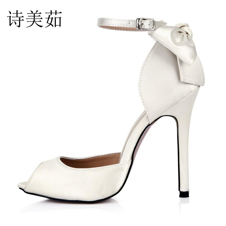 цена на 2016 New Ivory Satin Elegant Wedding Bridal Shoes Women Peep Toe Stiletto Heel Ankle Strap Flower Pumps Plus Sizes 10 0640C-k2