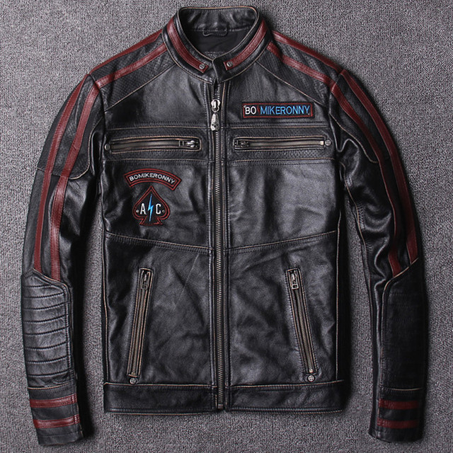 675351f64c654 HARLEY DAMSON Vintage Black Men Motorcycle Leather Jacket Plus Size XXXL  Genuine Cowhide Slim Fit Biker s Leather Coat