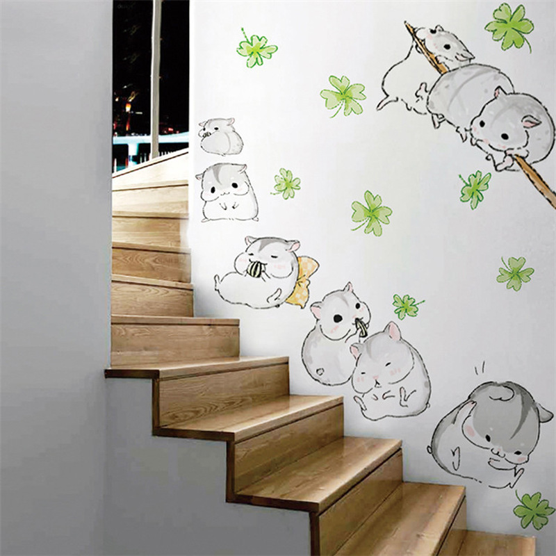 Hot style creative kindergarten school classroom corridor glass cute little hamsters children room removable wall stickers