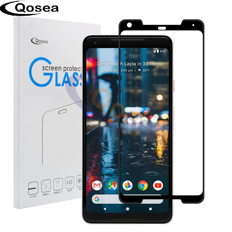 Qosea For Google Pixel 2 XL Tempered Glass 9H Electroplated 4D Front Full Film Ultra Clear For Google Pixel 2 Screen Protector