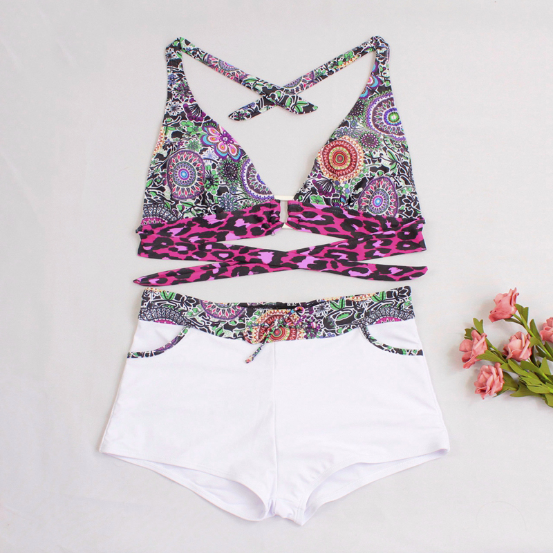 ZAFUAZ 2019 Sexy Vintage Floral Print Bikini Sport Plus size Swimwear Halter Women Swimsuit Shorts Bandage Female Bathing suit in Body Suits from Sports Entertainment