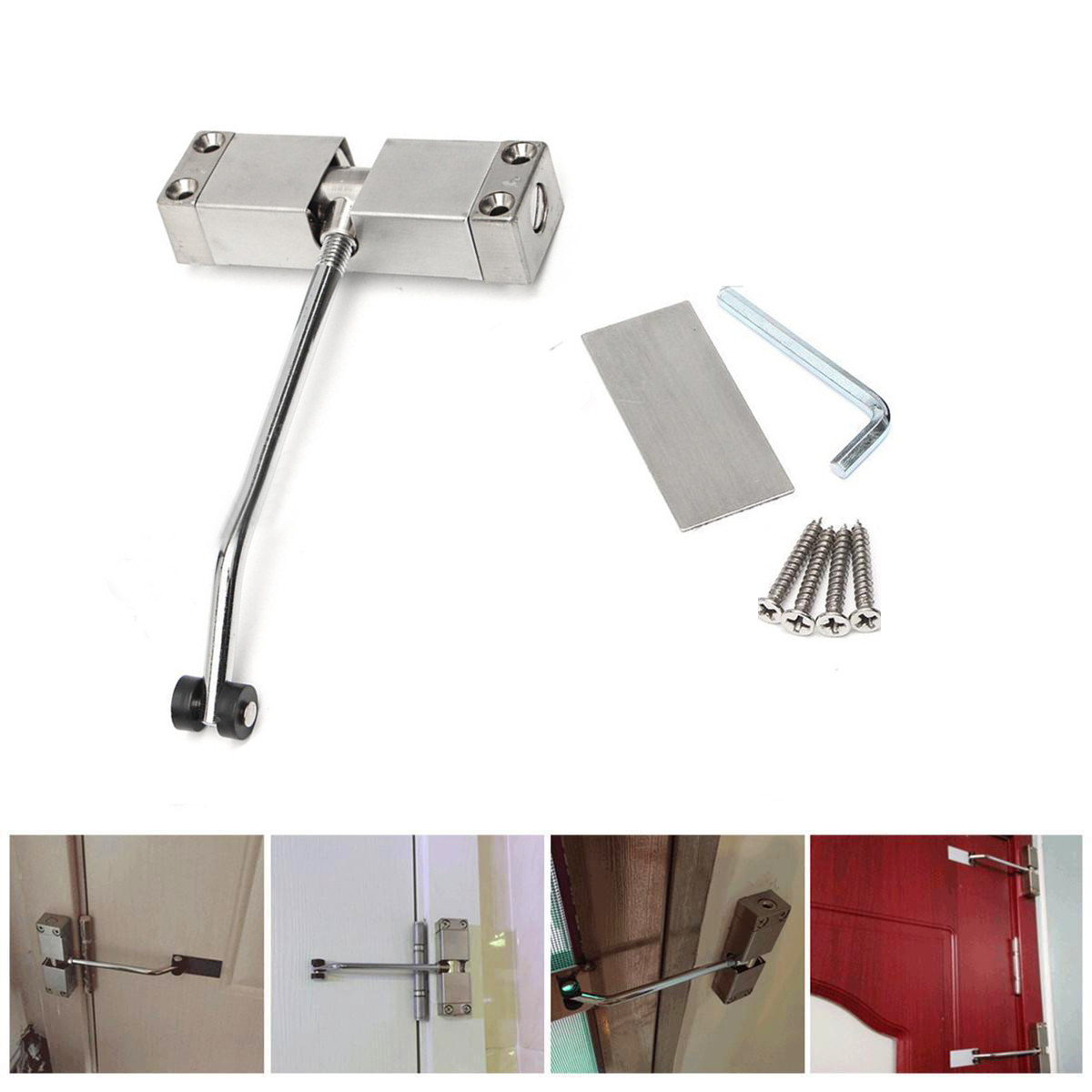 цена на Durable Adjustable Automatic Door Closer Stainless Steel Surface Mounted Household Spring Auto Door Closer Hardware Tool