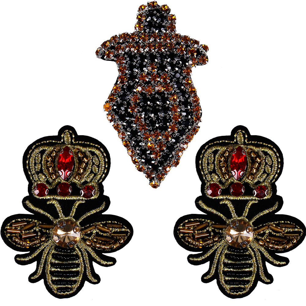 1set DIY Black Gold Dragger Design Crystal Craft Bead Crown Bee Embroidery Applique  Rhinestones Patches Sewing 59bf806c1532