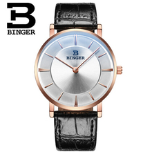 2016 Luxury Brand Round Genuine Leather Strap Waterproof Casual Quartz Watch Men Sports Wrist Watch Male Binger Clock