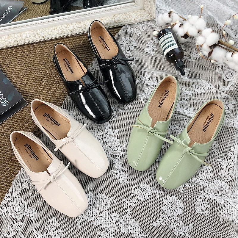 Bow knot Oxfords Shoes Women Slip On Flats Shoes 2019 Autumn Summer New Green Shoes Elegant Slides Women Low Heels Flats Ladies in Women 39 s Flats from Shoes