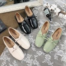 Bow-knot Oxfords Shoes Women Slip On Flats Shoes 2019 Autumn Summer New Green Shoes Elegant Slides Women Low Heels Flats Ladies