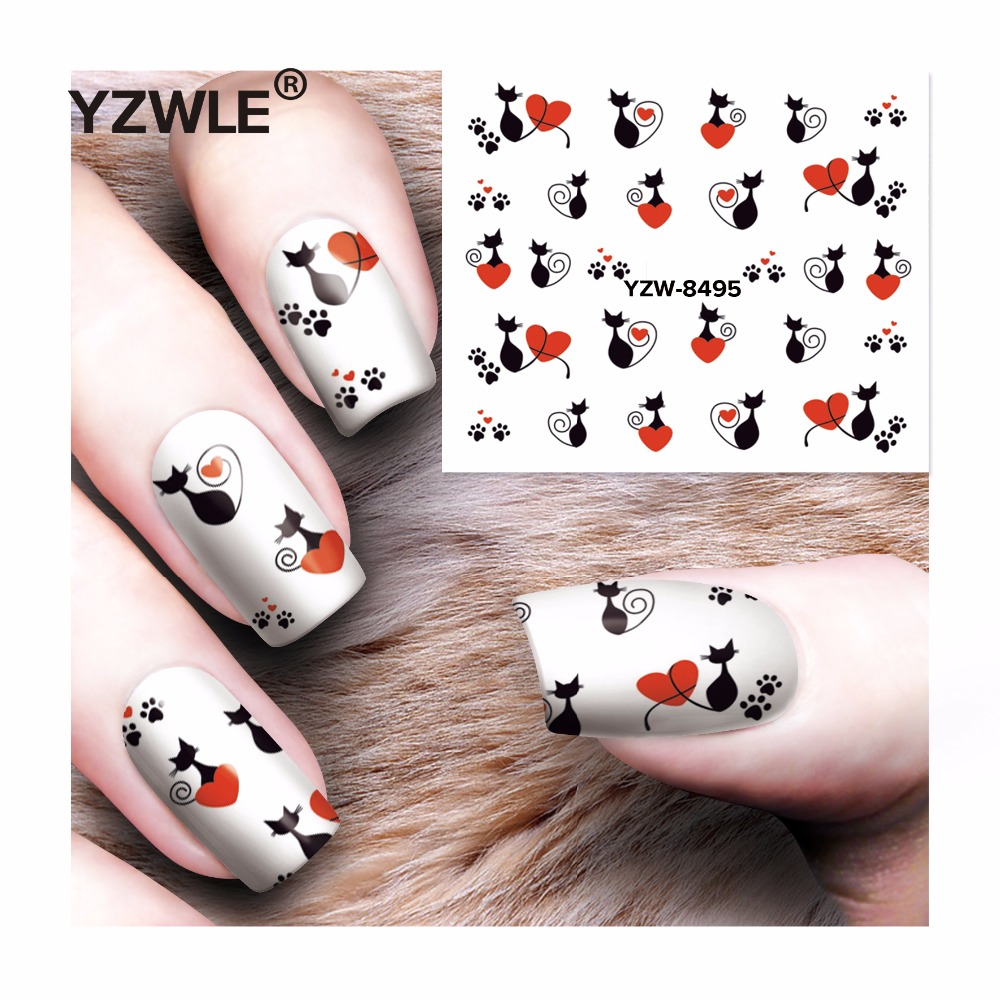 YZWLE 1 Sheet DIY Decals Nails Art Water Transfer Printing Stickers Accessories For Manicure Salon  YZW-8495 yzwle 1 sheet hot gold 3d nail art stickers diy nail decorations decals foils wraps manicure styling tools yzw 6015