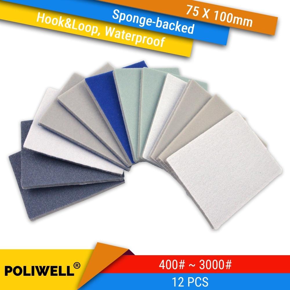 Sanding Sponge 12PCS 75x100mm 400 600 1000 3000 Grit Hook&Loop Flocking Polishing Block Waterproof Sanding Sheets Abrasive Tools