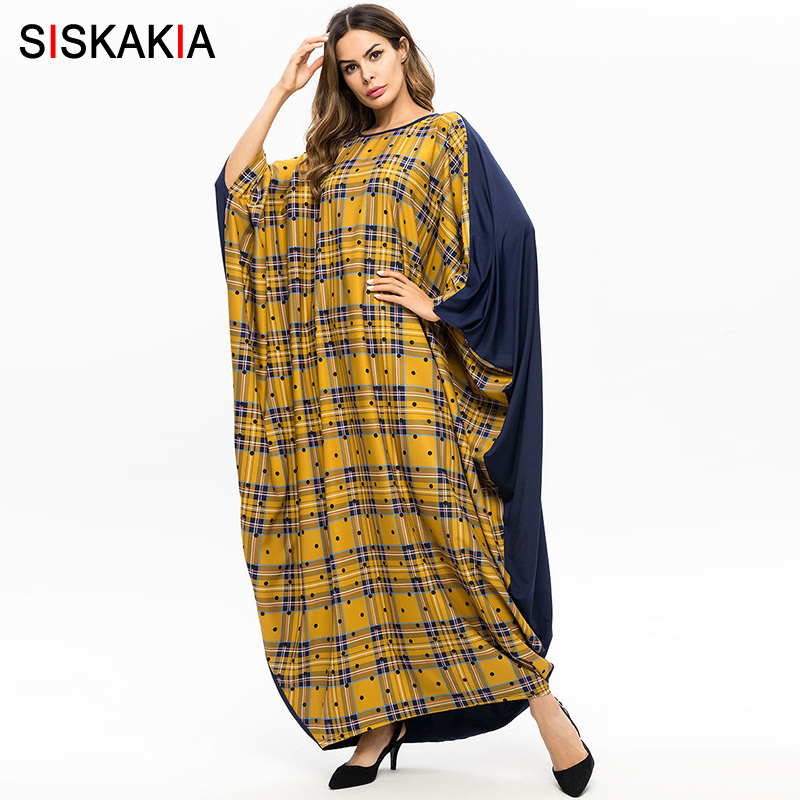 Siskakia Oversized Women Dressing Gowns Spring 2019 New Arrival Batwing Abaya Fashion Plaid Color Block Arab UAE Clothing Yellow