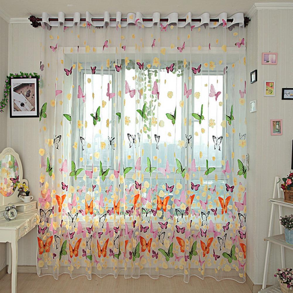 Butterfly Print Sheer Window Panel Curtains Room Voile Curtain Divider New arrival
