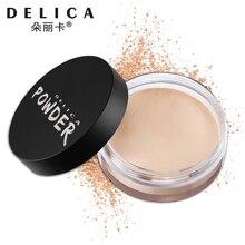 Delica, 4 цвета, прозрачный Гладкий, рассыпчатая пудра, Осветляющий консилер, пудра для макияжа лица с пуховкой