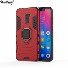 hot deal buy xiaomi pocophone f1 case, xiaomi little f1 global car holder armor case hard pc & soft silicon cover xiaomi pocophone f1 wolfsay