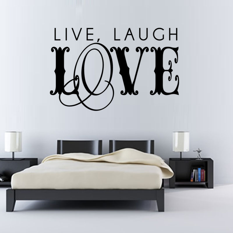 live laugh love art word wall sticker bedroom headboard vinyl removable diy home decor hot sale - Home Decor For Sale