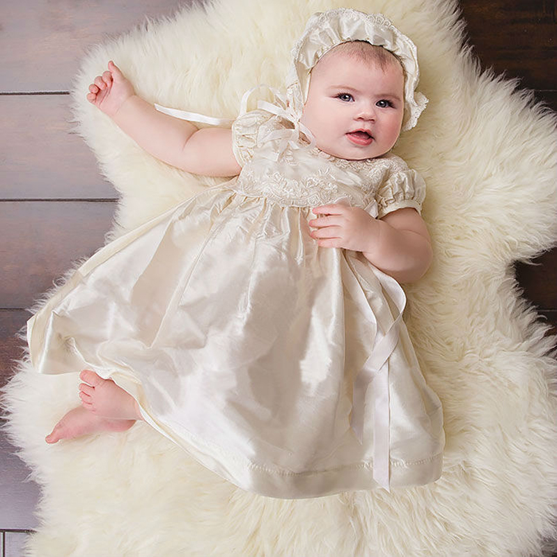 ФОТО With Headband New Arrival Baby Christening Dresses white and Ivory summer Short Sleeves Baby girl Baptism gowns vestido de noiva