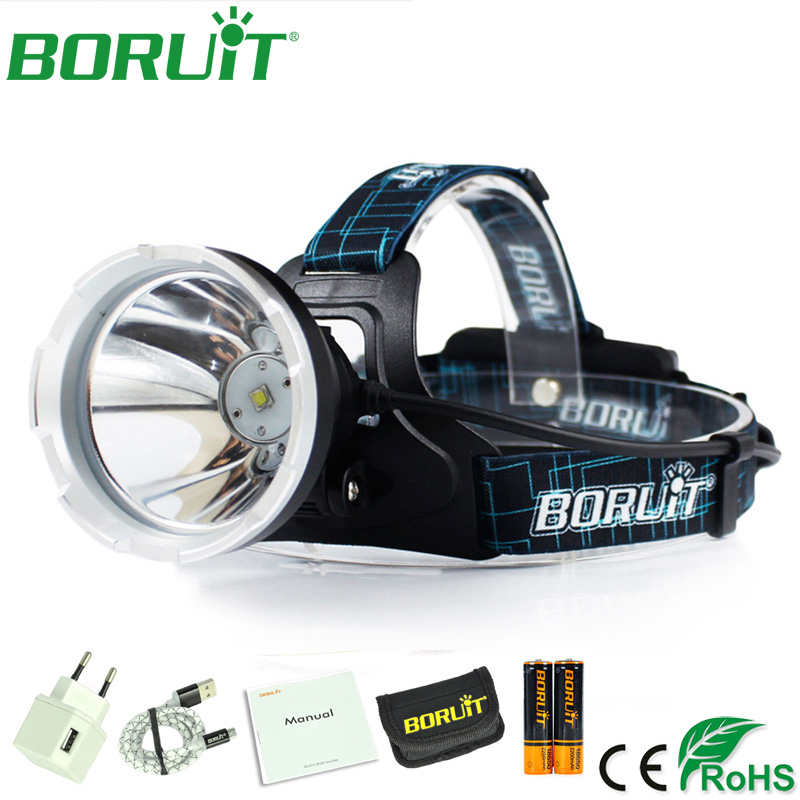 BORUiT Super Bright L2 LED Headlamp 18650 Battery Kit Portable Headlight Rechargeable Flashlight Camping Hunting Head Torch Lamp r3 2led super bright mini headlamp headlight flashlight torch lamp 4 models