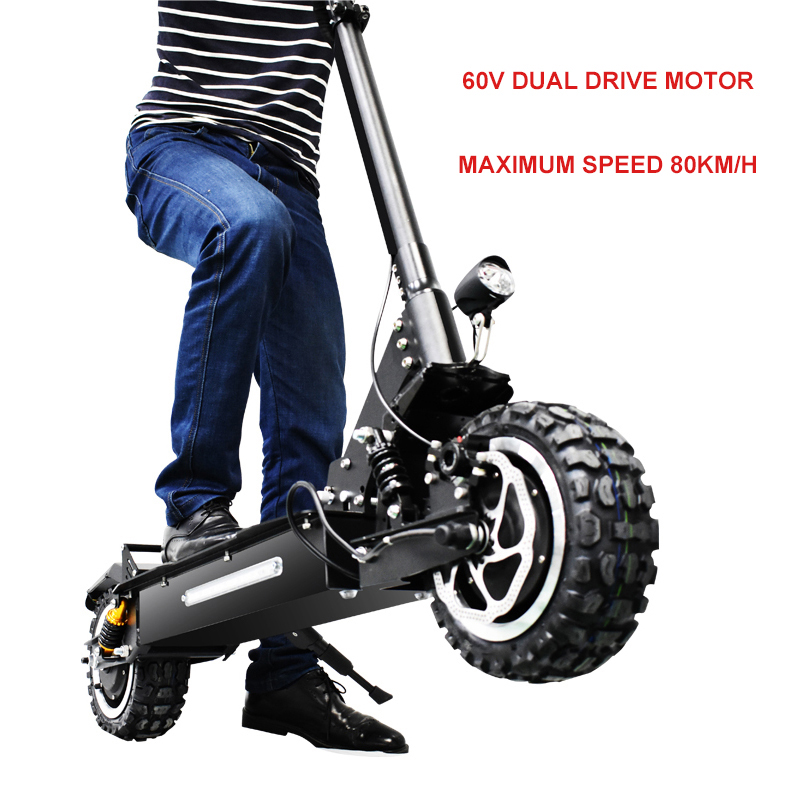 12 pouces scooter Électrique 60V3200w Avant arrière à double entraînement électrique hors route scooter ebike maximum 80 km/h Pliant vélo électrique