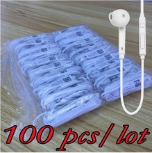 100 pcs / lot S6 Earbuds 100% Brand New with Mic 3.5mm high quality Earphone for Samsung Galaxy S6 i9800 S4 S5 S7 Edge Earphones