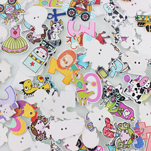 2 Holes Randomly Wooden Button Mulity Style Pattern Scrapbook Craft Buttons Mix 50pcs Garment Botoes Accessories(China)