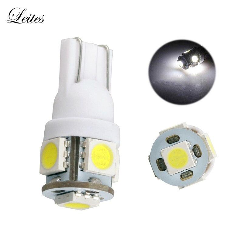 Leites 100pcs Top Quality Super BrightsLight 194 168 w5w t10 Led 5050 5SMD Instrument Lamp Automotive