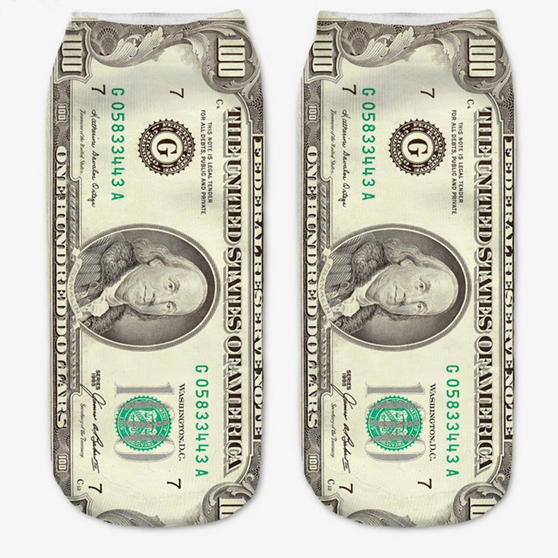 Витрина Алиэкспресс Иркутск - Горячее предложение, Новые забавные мужские и женские носки с 3D принтом доллара, повседневные носки унисекс из хлопка с глубоким вырезом, HD88  aliexpress goods лучшие популярные товары заказать почтой купить китая бесплатной доставкой дешевые shopping 2020