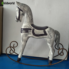 Nordic Wooden Rocking Horse Ornaments Retro Old Home Decoration Accessories Desktop Decoration Crafts top resin swing old man old lady ornaments desktop crafts cartoon old parents figurine home decor accessories wedding gifts