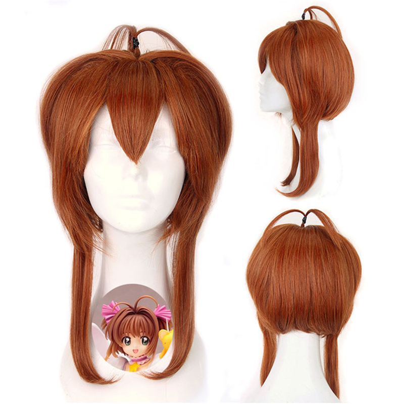Anime Card Captor Sakura Kinomoto Sakura Cosplay Wig Women Girls Long Straight Brown Hair Playing Wig Cosplay Accessories
