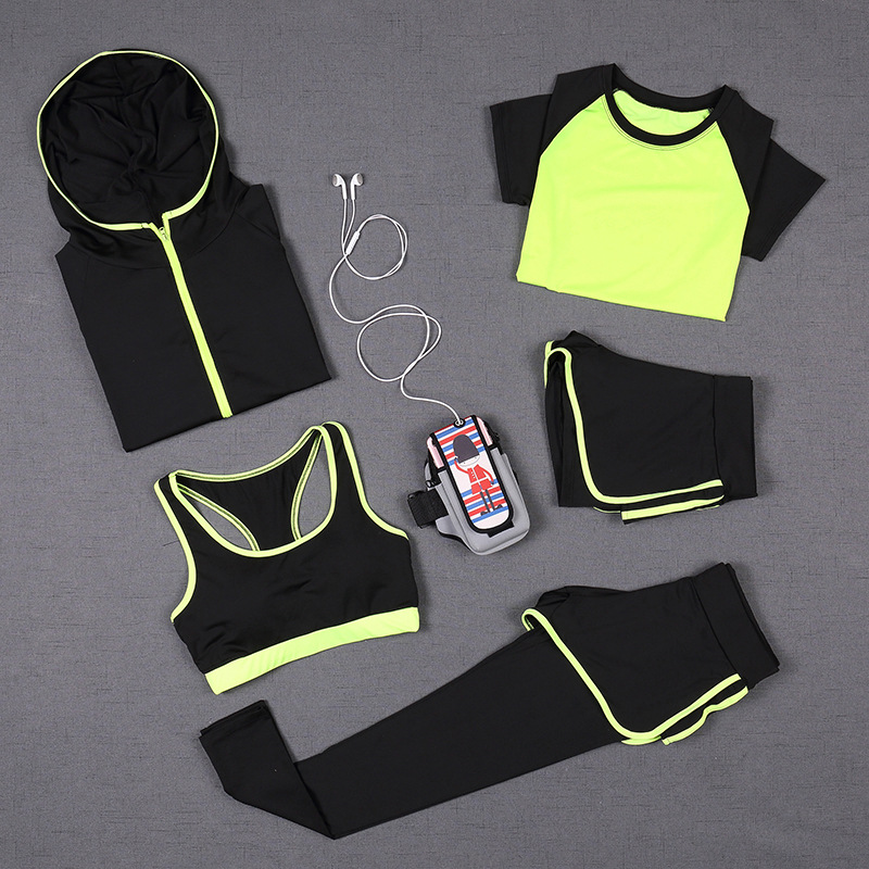 5 PCS Women Yoga Set for Running T-Shirt Tops Sports Bra Vest Fitness Pants Short sleeve Shorts Pant Gym Workout Sports Suit Set active letter print u neck sports bra and pants twinset for women