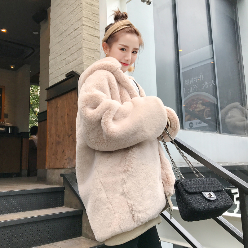 Female 2019 Winter New Thick Warm Hooded Faux Fur Coat Women Fashion Fluffy Oversize Loose Parka