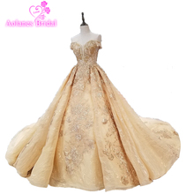 Full Beaded Top Pearl Tassel Back Ruffle Skirt Luxury Bridal Gowns Dignified Graceful Champagne Gold Wedding Dress Embroidery недорого