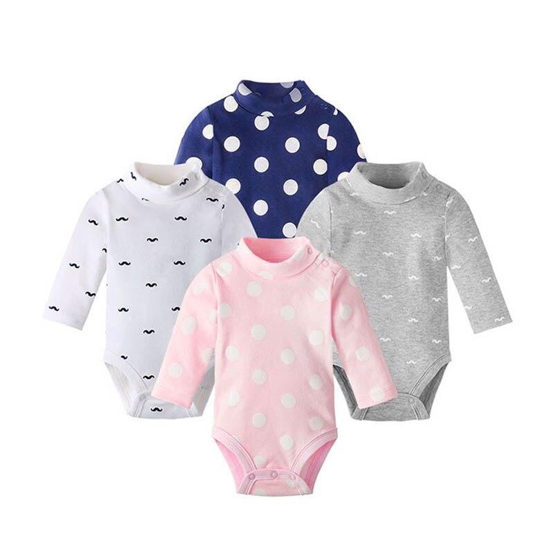 1 Stuk Herfst Winter Pasgeboren Baby Bodysuit Katoen Lange Mouw Jumpsuit Bodysuits One-stukken Hoge Kraag Jongen Baby Meisjes Kleding Klanten Eerst