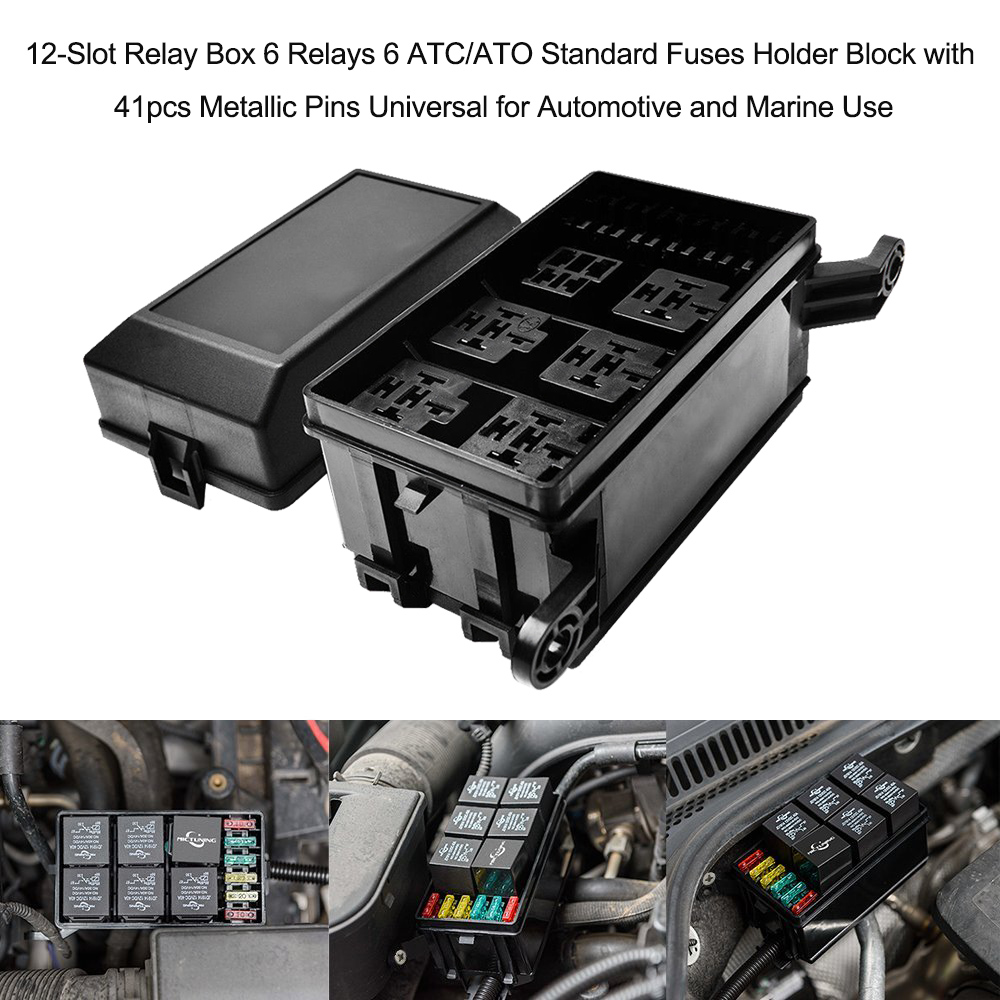 Image 2 - 12 Slot Relay Box 6 Relays 6 ATC/ATO Standard Fuses Holder Block with 41pcs Metallic Pins Universal for Automotive and Marine-in Fuses from Automobiles & Motorcycles