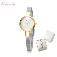 लक्जरी ब्रांड किमियो फैशन ड्रेस महिला घड़ियाँ महिलाओं के wristwatches छोटे डायल क्वार्ट्ज घड़ी निविड़ अंधकार स्टेनलेस स्टील कंगन