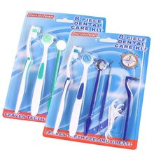 Oral Care 8pcs Toothbrush Dental Mirror Plaque Remove Tooth Stain Eraser Set Kit green