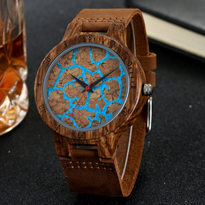 Image 2 - Premium Cork Wood Marble Design Wristwatch Mens Women Wrist Quartz Watch Men Ladies Soft Material Leather Strap Decorate Watches