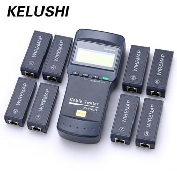 KELUSHI NF-8108M Multifunções Cat5 RJ45 Rede LAN Telefone Cable Tester Medidor de Mapeador 8 pc Far End Teste Jack Inglês operação
