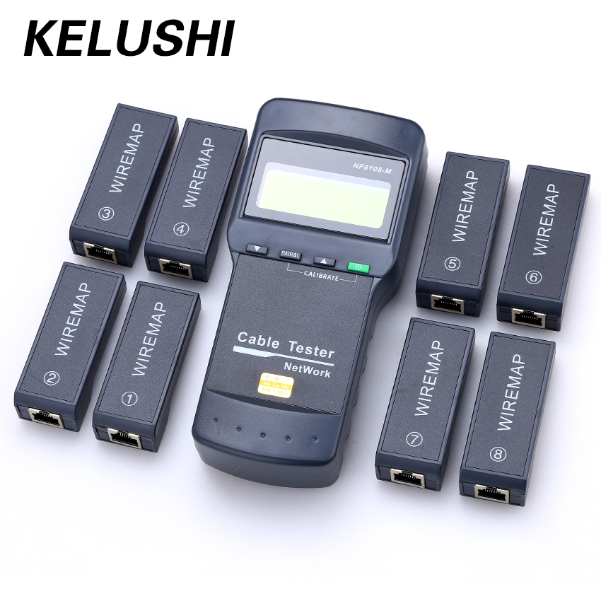 KELUSHI NF-8108M Multifunction Cat5 RJ45 Network LAN Phone Cable Tester Meter  Mapper 8 Pc Far End Test Jack English Operation