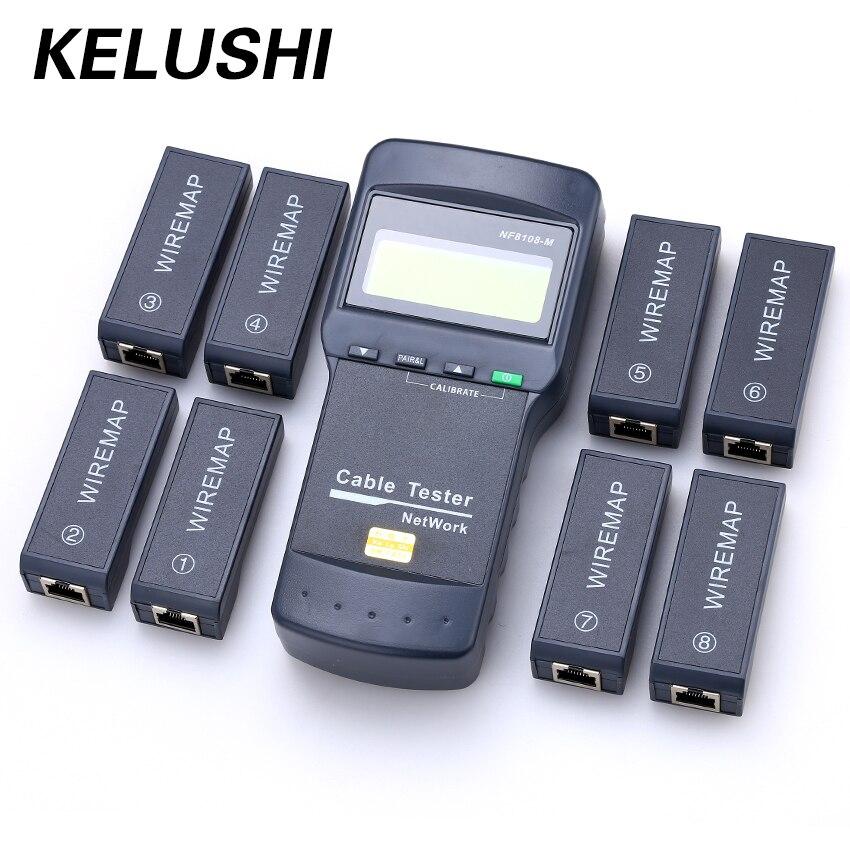 KELUSHI NF-8108M multifonction Cat5 RJ45 réseau LAN téléphone testeur de câble compteur Mapper 8 pc fin Test Jack anglais fonctionnement