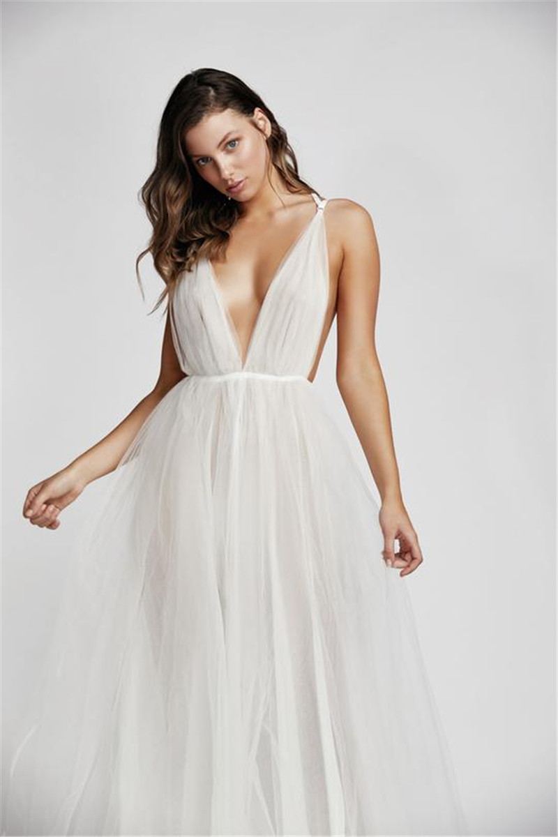 Célébrité femmes robe sangle profonde col en V maille blanc noir Maxi longue robe élégante soirée robe de soirée Vestido