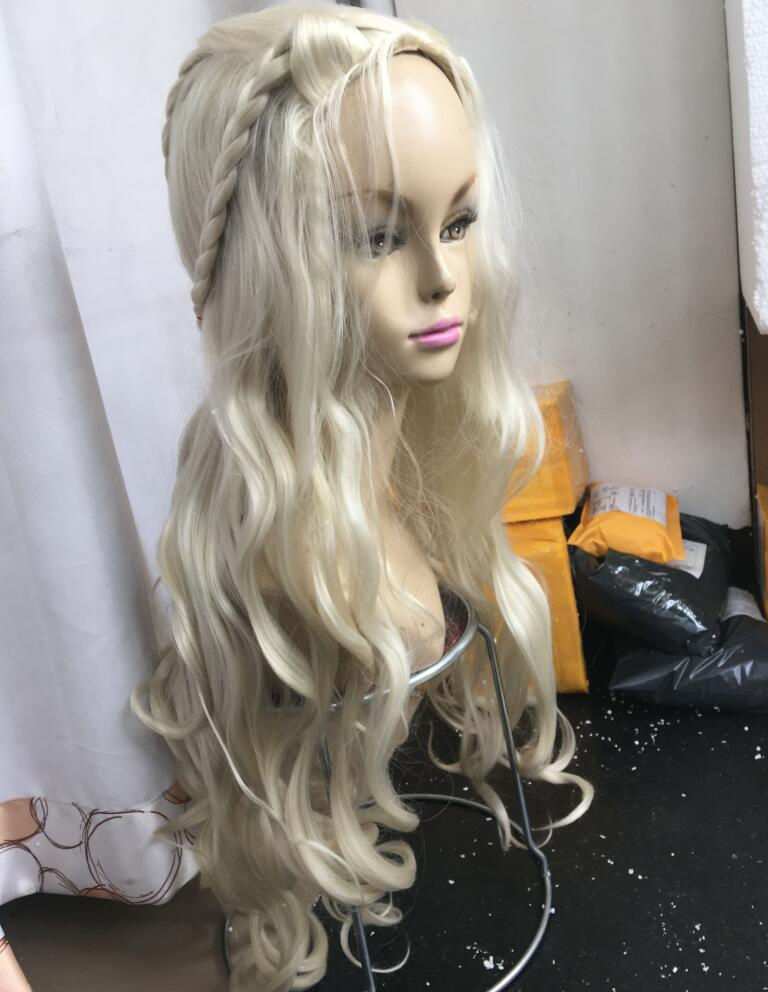 Frozen Snow Queen No Bangs Fluffy Blonde Palace Cosplay Party Wig Long Volume