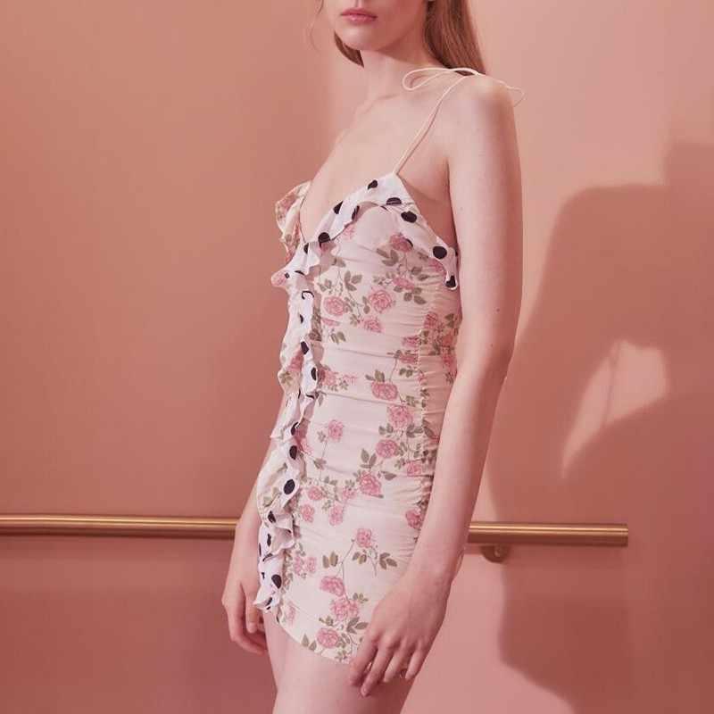 Женское мини-платье в горошек TWOTWINSTYLE, мини-платье в горошек без рукавов, с высокой талией и оборками, 2019