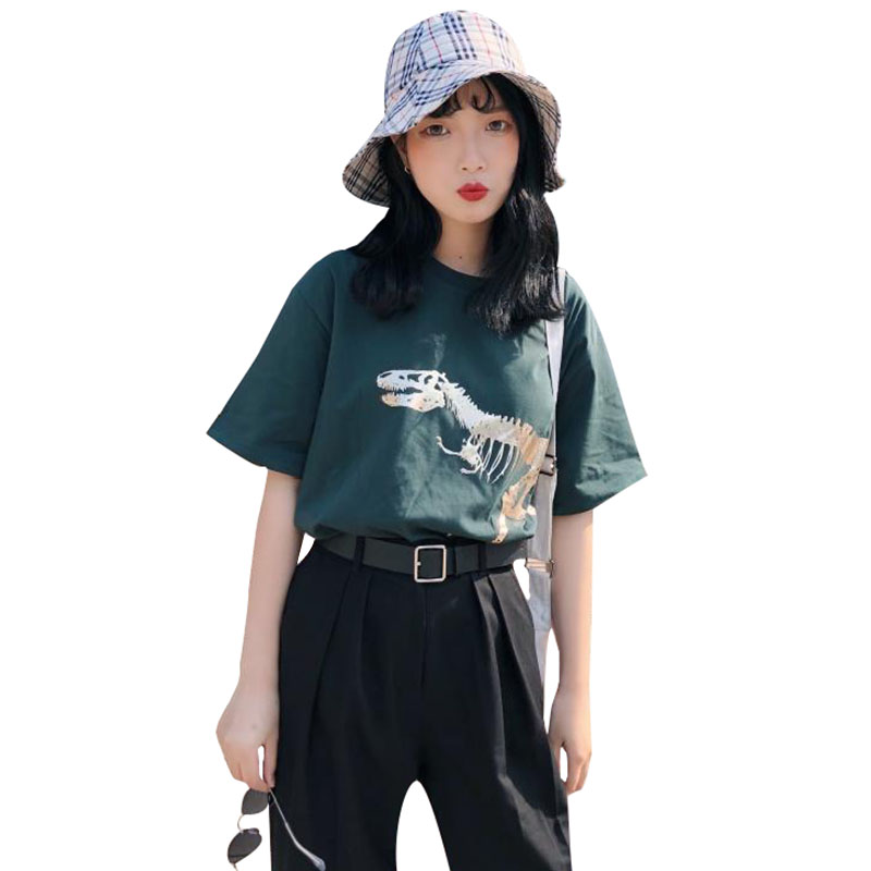 5941bb146 2018 Summer Harajuku Women's t Shirt Brand New Fashion dinosaur Print  Casual Short Sleeve O-Neck Loose t-shirts Tops Plus Size