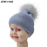 2018 Newborn Baby Health Cotton Hat With Detachable PomPom On Top Real Raccoon Fur Pom Pom